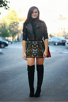 black gemstones OASAP skirt - black new look boots - black cropped asos jacket