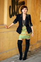 navy vintage christian dior blazer - chartreuse vintage skirt
