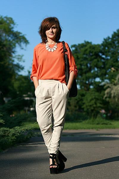 off white River Island pants - black suede Giuseppe Zanotti sandals - orange Zar