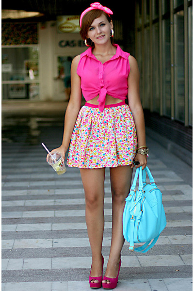 hot pink Miso top - bubble gum River Island shoes - light blue OASAP bag