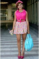 hot pink Miso top - bubble gum River Island shoes - light blue OASAP bag