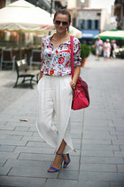 white flower print OASAP shirt - hot pink suede OASAP bag