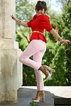 gold Miu Miu shoes - light pink Levis jeans - red peplum vintage blazer