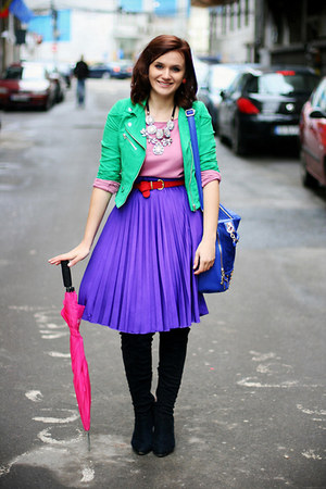 chartreuse suede H&M jacket - blue OASAP bag - violet pleated no name skirt