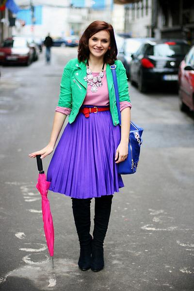 violet pleated no name skirt - chartreuse suede H&M jacket - blue OASAP bag