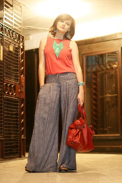 brick red Mango bag - printed Mango pants
