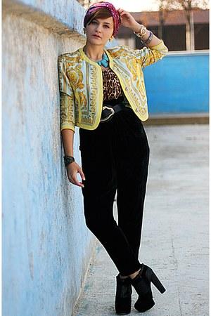 yellow vintage versace blazer - gray Topshop boots - black velvet Bershka pants