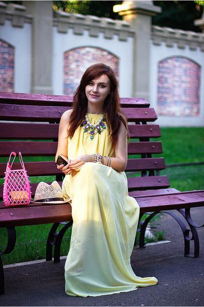 light yellow maxi OASAP dress - gold statement OASAP necklace