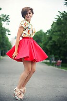 white printed Zara top - red River Island skirt - floral print OASAP wedges