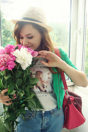 green suede H&M jacket - light blue Levis jeans - hot pink OASAP bag