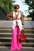 vintage shirt - ruby red Mango bag - off white Topshop vest