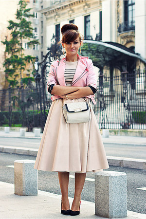 bubble gum cropped OASAP jacket - gold chain Zara bag - light pink pu H&M skirt