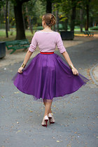 magenta thrifted skirt - beige Zara shoes