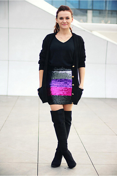 magenta sequin Topshop skirt - black over the knee new look boots