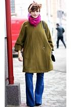 olive green vintage coat - blue Stradivarius jeans