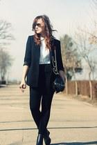 black Zara blazer - vintage shirt