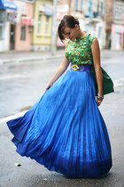 blue vintage skirt - chartreuse worn as top vintage dress
