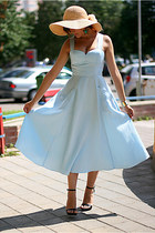 light blue 50s H&M dress - black Zara shoes - random brand accessories