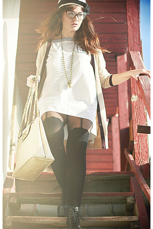 white vintage dress - asos tights - vintage bag