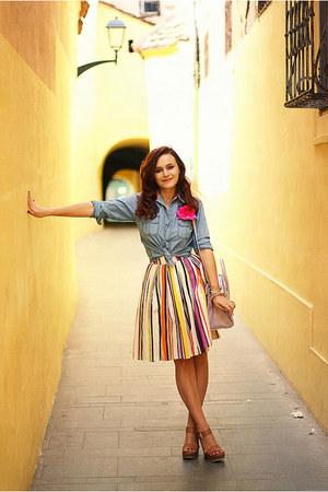 white striped handmade skirt - blue denim thrifted shirt