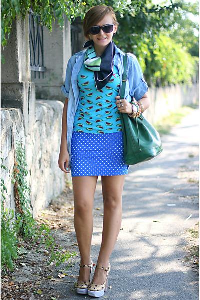 printed Miu Miu shoes - denim Zara shirt - polka dots Bershka skirt