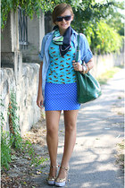 printed Miu Miu shoes - denim Zara shirt - polka dots Bershka skirt