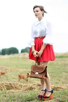navy Jeffrey Campbell shoes - brown suede vintage bag - red River Island skirt -