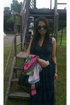 from a bazaar dress - sophie martin bag - rayban sunglasses - Aksezoris cardigan