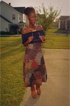 dark brown vintage skirt - tawny Aldo shoes - blue shirt