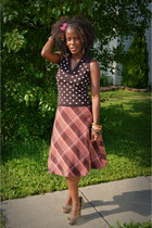 maroon plaid thrifted skirt - dark brown polka dots thrifted shirt