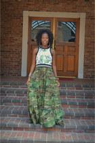 green Forever 21 top - dark green army fatigue Ralph Lauren Denim & Supply dress
