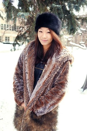leather overall Forever 21 dress - Forever 21 hat - faux fur vintage jacket