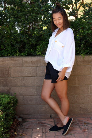 button-down thrifted top - sport Charlotte Russe shorts - Ralph Lauren flats