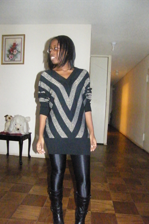 black Forever 21 dress - black American Apparel pants - black payless boots
