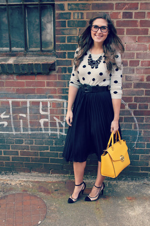 black black and pvc BCBGeneration heels - heather gray polka dot JCrew sweater