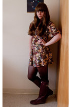 crimson floral thrifted dress - maroon Hunter boots - dark brown tights