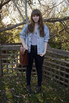 army green miz mooz boots - light blue denim jacket Levis jacket - black high-wa