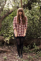 brick red flannel top - black ecote boots - black H&M tights