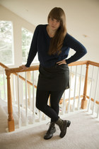 army green boots - navy Urban Outfitters sweater - black slip Anthropologie inti
