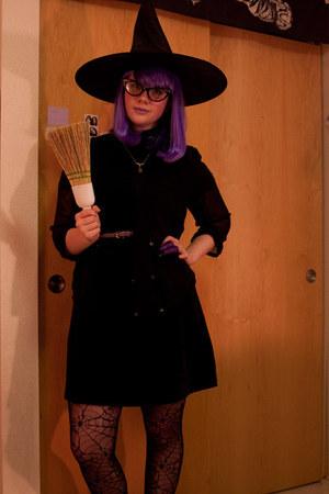 black tights - black velvet thrifted dress - cat-eye glasses
