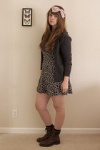 black floral H&M dress - dark brown Imeldas boots - charcoal gray JCrew cardigan