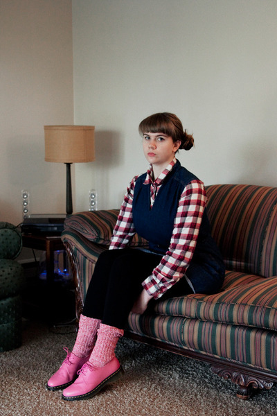 red socks - pink Dr Martens shoes - navy denim thrifted dress - red flannel top