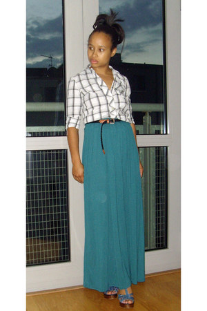 teal jersey River Island skirt - Urban Outfitters shirt