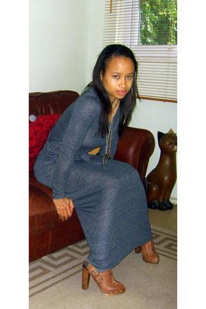 heather gray Topshop dress - brown Topshop boots