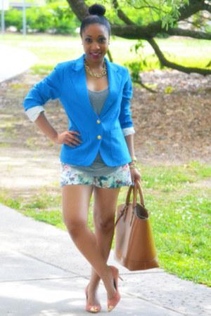 Alexander Wang top - Forever 21 blazer - Zara bag - floral Zara shorts