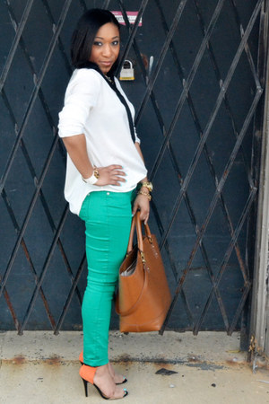 green skinny Forever 21 jeans - Zara bag - OASAP blouse - Zara heels