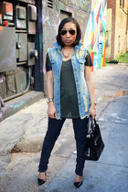 denim OASAP vest - Zara jeans - Zara shirt - Shoedazzle purse - Zara sandals