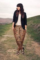 leopard print Mink Pink pants - black Zara blazer - white H&M shirt