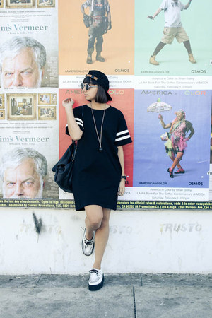 mlk collective dress - leopard Vans hat - rabeanco bag