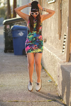 neon Sway Chic dress - low top white Dr Martens shoes - penelopes vintage hat